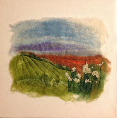 Landscape with cow parsley, felting with embroidery